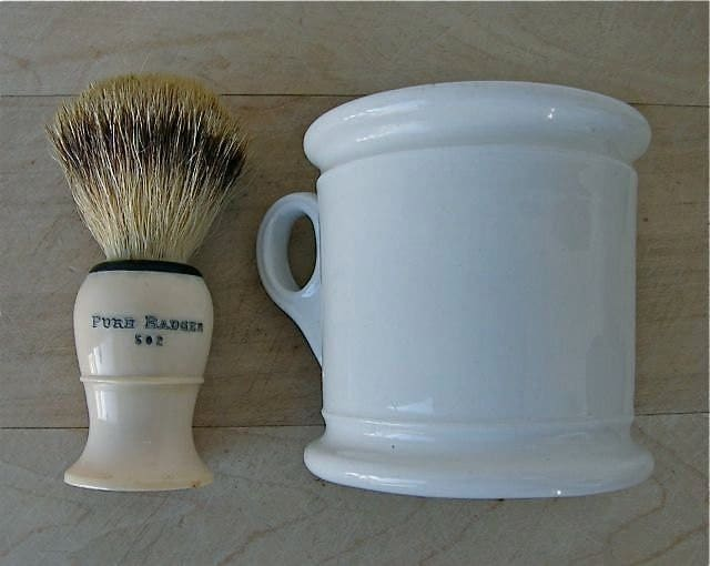 Antique Shaving Mug And Brush Of Badger Bristle 1900