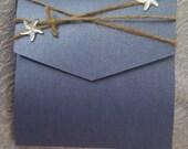 Rustic Blue Pocket Fold Wedding invitations with white starfish -