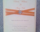 Starfish Beach Themed Wedding / Save the Date Invitation Card, with coral Ribbon and white  starfish Embellishment