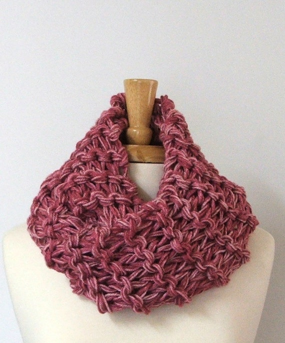 Chunky Knit Rose Mist Long Infinity Cowl Scarf