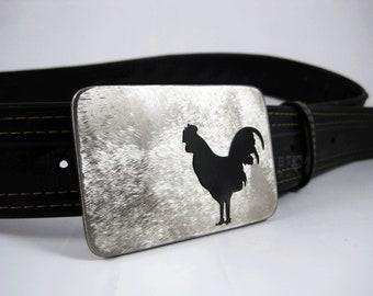 Rooster Belt Buckle - Stainless Steel - Handmade