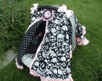 Car seat Canopy with Pink Ruffle