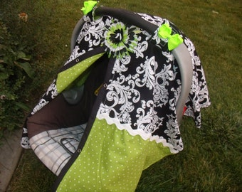 Carseat Canopy Elegant Lime Dot