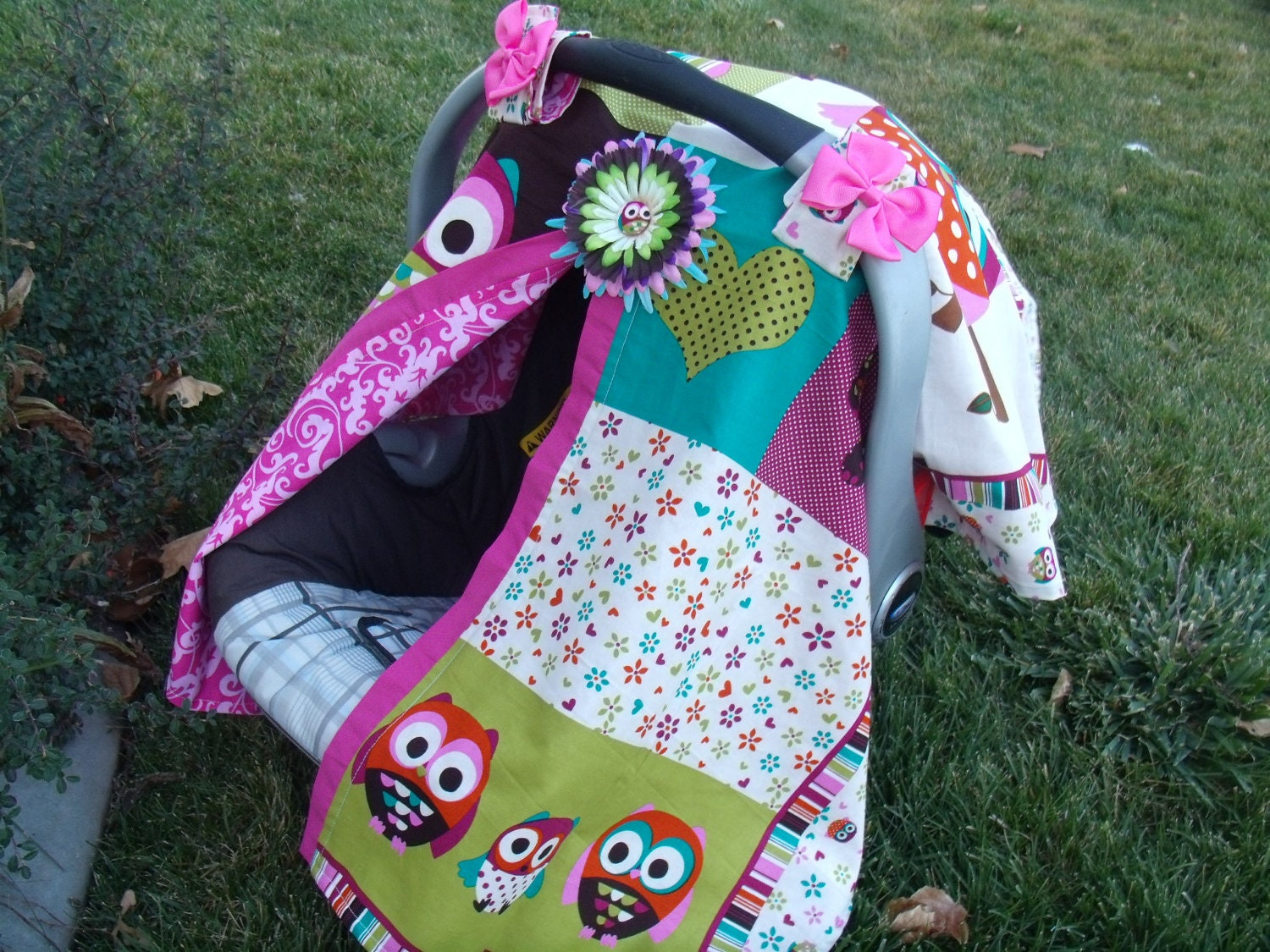 carseat cover canopy owl baby patchwork. Black Bedroom Furniture Sets. Home Design Ideas