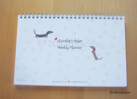 Weekly Planner Notebook - Dachshunds With Heart (52 sheets)