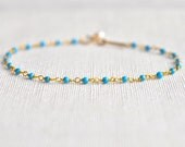 Turquoise Beaded Bracelet with Pearl Charm