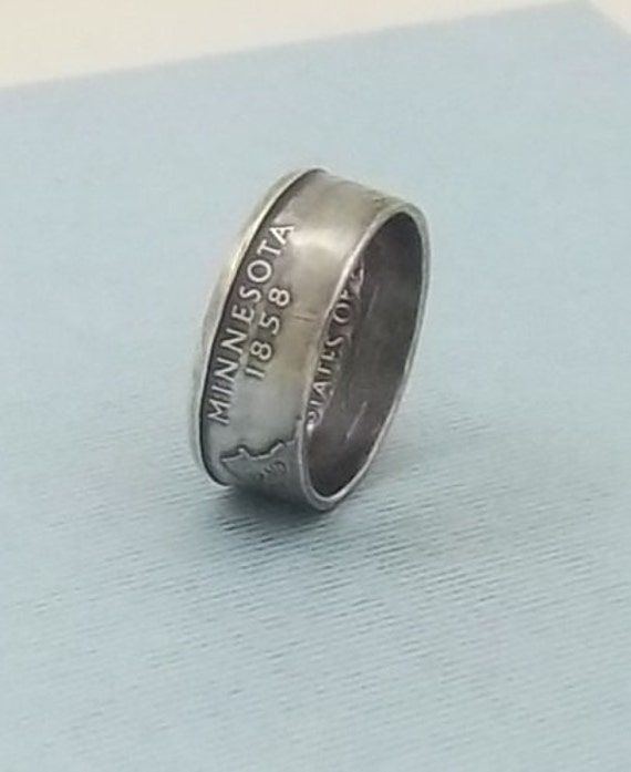 Silver coin ring  Minnesota State quarter year 2005 size 7 1/2, 90% fine silver jewelry unique  gift FREE SHIPPING