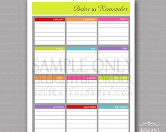 Colorful - Dates to Remember List-  PDF Printable File - Instant Digital Download