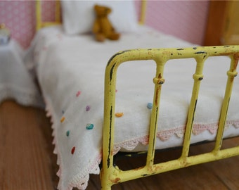 Iron Doll Bed Blythe Bed Antique Shabby Chic Style 1/6th Scale