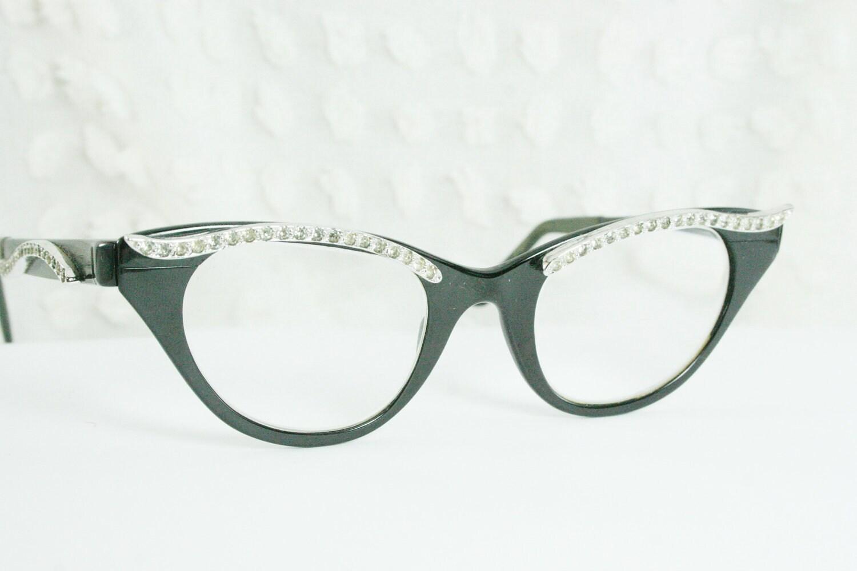 Cat Eye Rhinestone Eyeglass Frames : 50s Rhinestone Cat Eye Glasses 1950s Tura by DIAeyewear ...