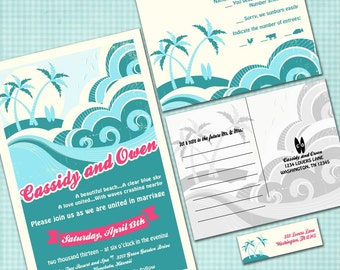 Custom Hawaiian Wedding Invitation Suite - Beach Wedding - SAMPLE PACK