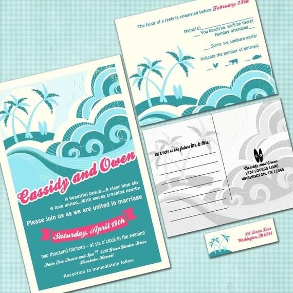 Wedding Invitations Hawaii: Custom Hawaiian Wedding Invitation Suite With RSVP Postcards