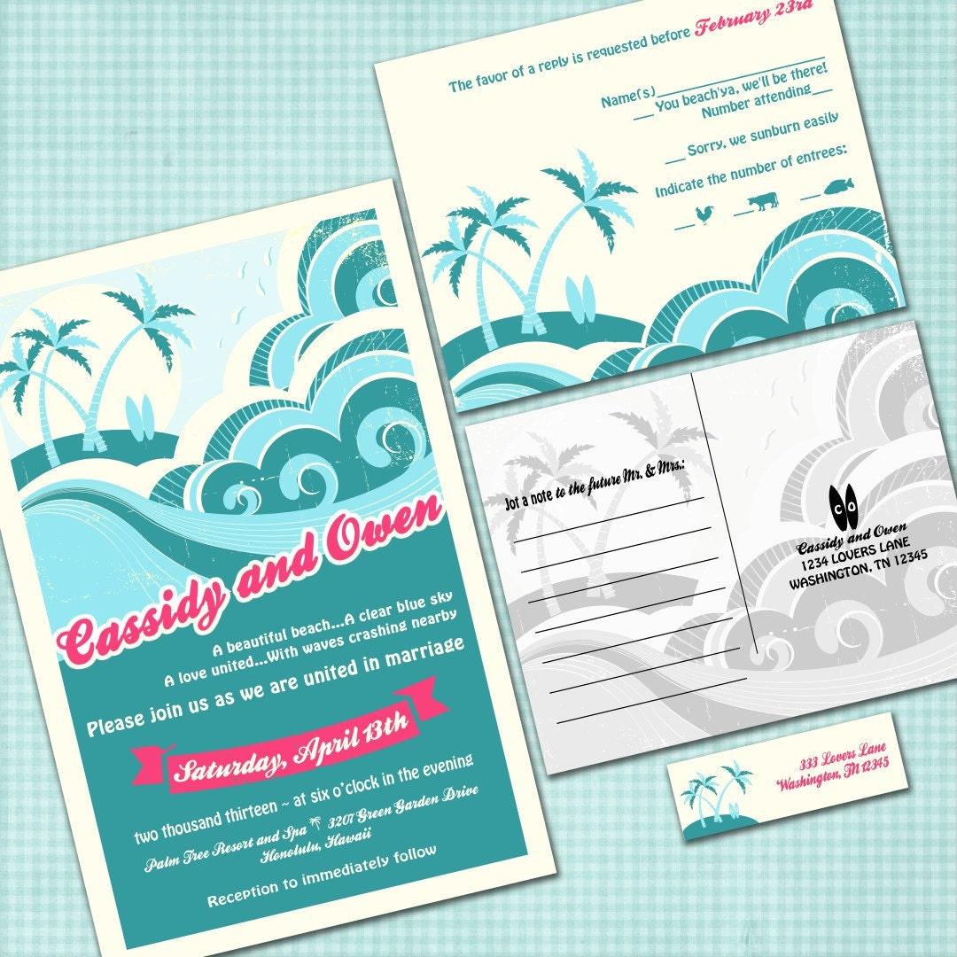 Custom Hawaiian Wedding Invitation Suite with RSVP postcards