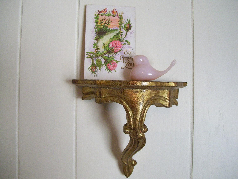 Wall Sconces With Shelf : Vintage Italian Wall Shelf Sconce Golden by LakeBreezeVintage