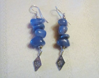 Sterling Silver Blue Chalcedony Earrings