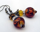 Amber Beaded Dangle Earrings with Swirled Glass Bead and Crystal