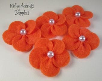 Orange Felt Flowers