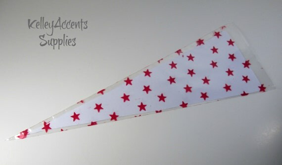 20 Clear Cellophane Cone Shaped Red Star Bags