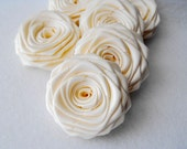 6 handmade roses ribbon flowers in ivory