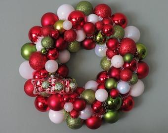 On SALE --Christmas Wreath HO H0 HO Red and Lime Christmas Ornament Wreath