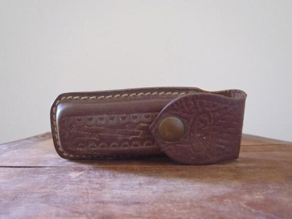 Vintage Hand Tooled Leather Case Belt Case Knife Case