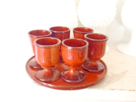 Vintage Serving Set Wooden Shot Glasses and Tray Danish Modern