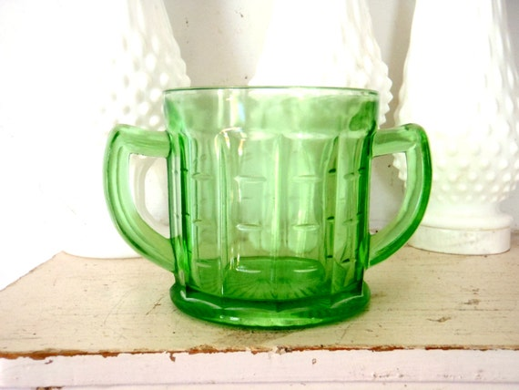 Green Depression Glass Large Cup Anchor Hocking