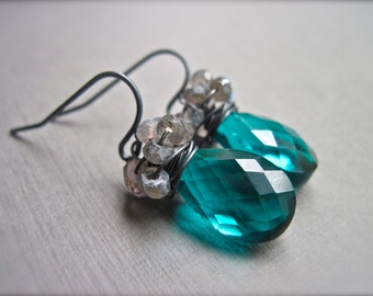 Teal Quartz Earrings, Labradorite Wire Wrapped Quartz Earrings in Oxidized Sterling Silver, Teal Gray Gemstone Earrings