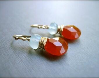 Chalcedony Wire Wrapped Drop Earrings in 14K Gold Fill, Aqua Chalcedony and Dark Orange Chalcedony Gemstone Earrings