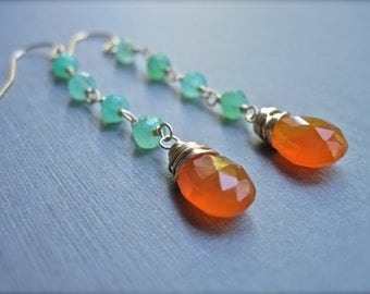 Carnelian and Chrysoprase Dangle Earrings in 14K Gold Fill, Orange Gemstone Earrings, Gold Dangle Earrings, Bright Colors