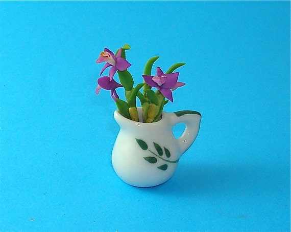 Velvet Orchid Flowers in a Jar for Dollhouse 12th Scale