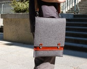 12 inch MacBook bag felt 12inch MacBook bag MacBook 12 inch bag with pocket and adjustable strap - Grey felt and dark brown leather