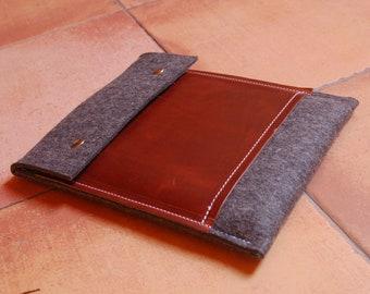 iPad Air 2 case iPad Air 2 cover iPad Air 2 sleeve iPad Air sleeve iPad Air case - wool felt - with leather pocket - grey color