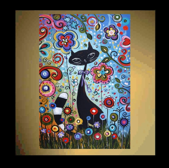 Original Painting Abstract Painting Naive Cat Painting From