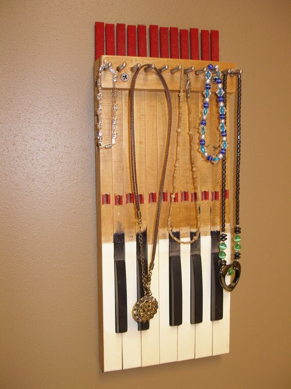 Repurposed Vintage Organ Piano Key Jewelry Rack Unique 1959