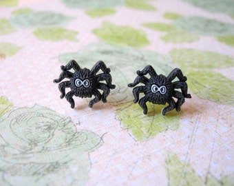 Halloween Spider Earrings, Spider Earrings, Black Spider Earrings, Halloween Spider Jewerly