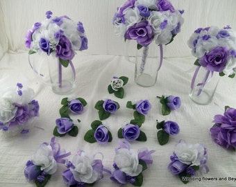 BRiDeS oN a BuDGeT 17 pieces made to order Flower Package WeDDiNG BouQuets Lavendar and white RoSeS