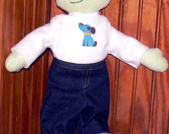 "Blueberry Hill Kid Polar fleece Rag Cloth Boy or Girl Doll  16""   Deluxe handmade made to order custom"