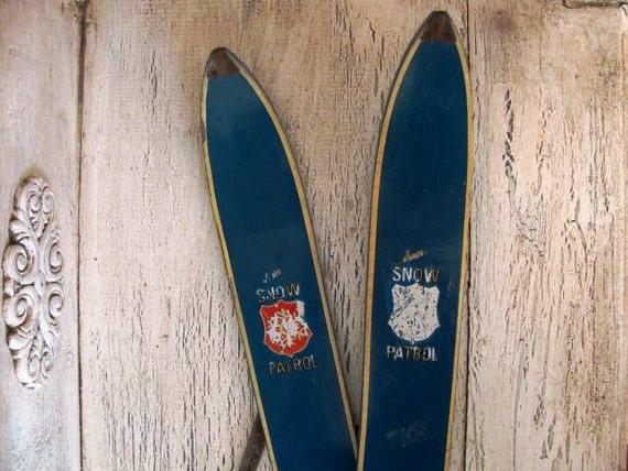 Vintage Children's Wooden Skis - Snow Patrol