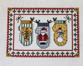 Holiday Mittens Completed Cross Stitch