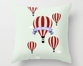 Throw Pillow Cover - Hot Air Balloons Fly Away - Baby Blue Pink Maroon - 16x16, 18x18, 20x20 - Nursery Original Design Home Décor by Adidit