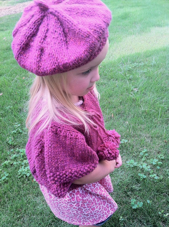 Knitting Pattern,girls knit poncho,toddler girls,knit capelet pattern,easy to knit,gift set,kimono sleeve,pullover,girls jumper and hat,pink