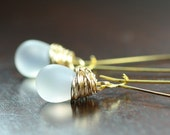 Frosted White Earrings, Clear,  Rainbow, Gold Earrings, Frosted Glass by Simply Sleek