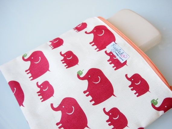 Zippered Pouch / Nappy or Diaper Case - Red Elephants