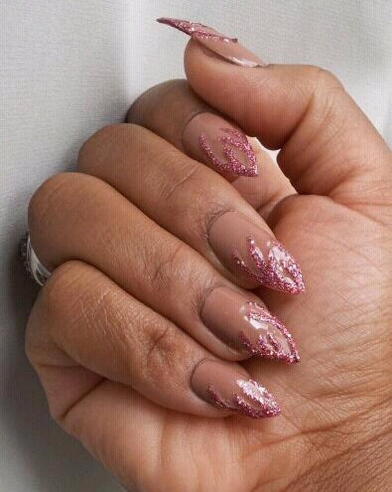 Stiletto Long Length Press On Fake Nails