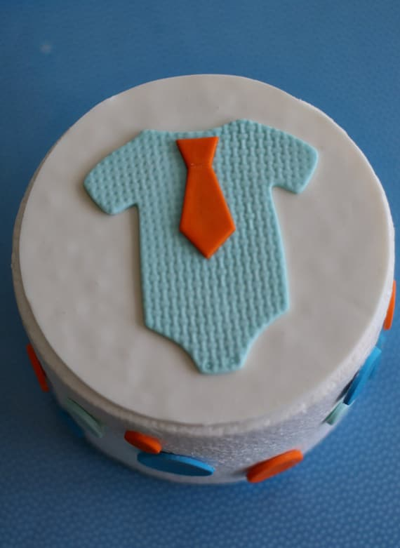 Fondant Baby Onesie With Tie And Polka Dot By
