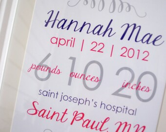 """FRAMED Personalized Baby Stats - """"The Hannah"""""""