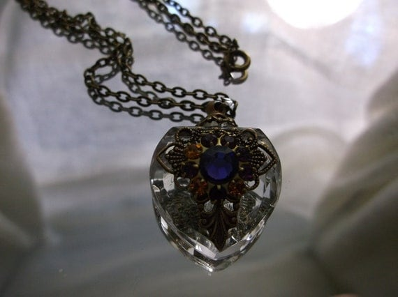 Crystal Heart Perfume Bottle Necklace