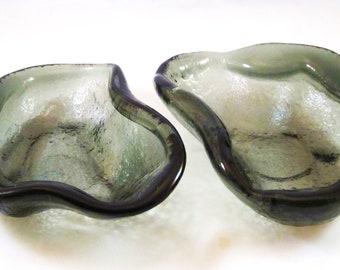Vintage Glass Free Form Amoeba PREHISTORIC MODERN Dish Ashtrays