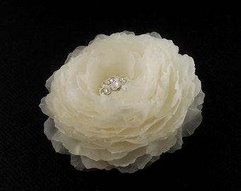 Silk Peony Bridal Hair Piece, Wedding Hair Piece, Wedding Hair Flower, Bridal Hair Flower, Swarovski Crystal, Bridal Hair Accessory